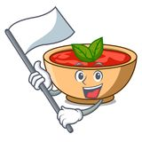 With flag tomato soup character cartoon. Vector illustration Stock Images