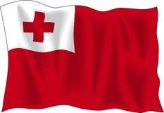 Flag of Tonga. Waving flag of Tonga isolated on white Royalty Free Stock Photo
