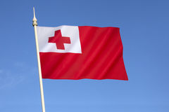 Flag of Tonga. After being officially enshrined into the nation's constitution, it has been the flag of the Kingdom of Tonga since 1875. The national Stock Photos