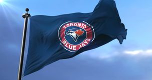 Flag of Toronto Blue Jays, american professional baseball team - loop. Flag of the team of Toronto Blue Jays, american professional baseball team, waving at wind stock video footage