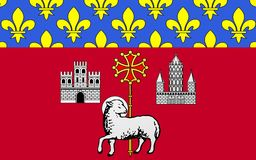 Flag of Toulouse, France. Flag of Toulouse is the capital city of the southwestern French department of Haute-Garonne, as well as of the Midi-Pyrenees region royalty free illustration