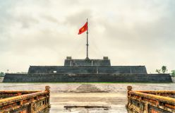 Flag tower at the Imperial City in Hue, Vietnam. Flag tower at the Imperial City in Hue. Vietnam, Indochina royalty free stock image