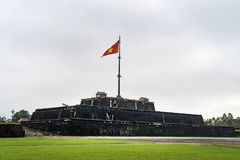 Flag tower at the Imperial City in Hue. Vietnam, Indochina. Historical Sights of Vietnam royalty free stock photos