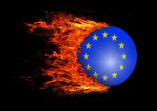 Flag with a trail of fire - European Union Royalty Free Stock Photos