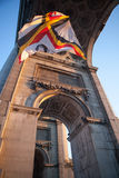 Flag in Triumphal Arch in Brussels , Bel royalty free stock photo