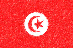 Flag of Tunisia background o texture, color pencil effect. Stock Photos