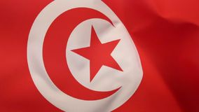 Flag of Tunisia. The current official flag of Tunisia dates from 1999. The star and crescent moon recalls the Ottoman flag and is therefore an indication of stock video