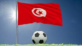 Flag of Tunisia fluttering and a football rolls on the lawn, 3d rendering, 4k footage.  stock video footage