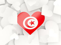 Flag of tunisia, heart shaped stickers. Background. 3D illustration Royalty Free Stock Images