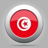 Flag of Tunisia. Shiny metal gray round button. Stock Images