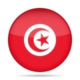 Flag of Tunisia. Shiny round button. Stock Photo