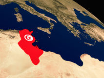 Flag of Tunisia from space Stock Photography