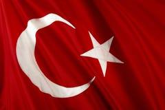 Flag of Turkey. Close up shot of wavy, shiny Turkish flag stock photography