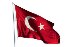 Flag of Turkey. National flag of Republic of Turkey isolated on white with included clipping path stock photo