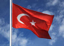 Flag of Turkey. The flag of Turkey flutters in the wind stock photography