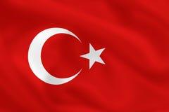 Flag of Turkey. Turkish waving flag (background or wallpaper Stock Photo