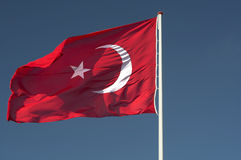 Flag turkey. The flag of Turk waving in the wind royalty free stock photography