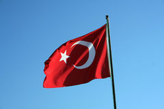 The flag of Turkey. Waving in the wind stock images