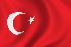 Flag of Turkey. Waving in the wind Stock Photography