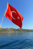 Flag of Turkey against the sea Royalty Free Stock Image