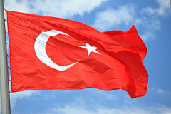 Flag of Turkey. Against the sky stock photography