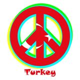 Flag of Turkey as a sign of pacifism stock illustration