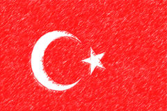 Flag of Turkey background o texture, color pencil effect. Royalty Free Stock Images