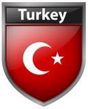 Flag on Turkey on badge design Stock Photos
