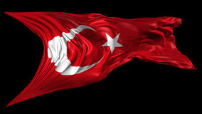 Flag of Turkey. Beautiful   3d animation of Turkey flag with alpha channel in 4k resolution stock footage