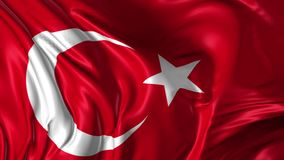 Flag of Turkey. Beautiful   3d animation of Turkey flag in loop mode stock footage