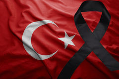 Flag of turkey with black mourning ribbon Royalty Free Stock Images