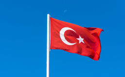 Flag of Turkey on blue sky Stock Photo
