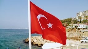 Flag of Turkey. On the boat stock image