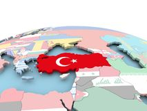 Flag of Turkey on bright globe. Turkey on political globe with embedded flags. 3D illustration Royalty Free Stock Image
