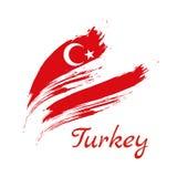 Flag of Turkey, brush stroke background vector illustration.  Stock Illustration