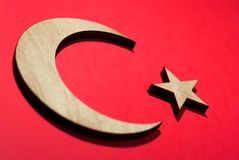 Flag of turkey, crescent and star cut from a tree