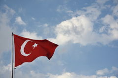 Flag of Turkey developing against a clear blue sky Stock Images
