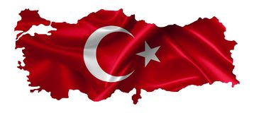 Turkey map with flag stock illustration