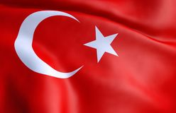Flag of Turkey. 3D rendering royalty free stock photo