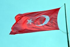 Flag of Turkey. The flag of Turkey flutters in the wind stock photo