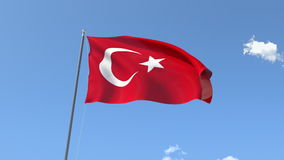 Flag of Turkey. Front Flag of Turkey , Seamless Loop, Alpha Matte available on my portfolio stock footage