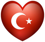 Flag of Turkey in heart shape Stock Photography