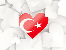 Flag of turkey, heart shaped stickers Royalty Free Stock Photo