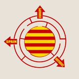 Catalonia flag in the labyrinth Royalty Free Stock Image