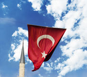 Flag of Turkey. And mosque on blue sky stock images