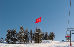 Flag of Turkey on mountain peak in Sarikamis Royalty Free Stock Images