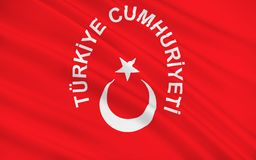 Flag of Turkey. Officially the Republic of Turkey is a parliamentary republic in Eurasia, largely located in Western Asia, with the smaller portion of Eastern royalty free stock images