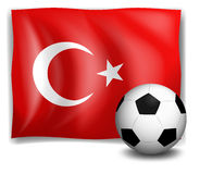 The flag of Turkey with a soccer ball Stock Photo