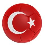 Flag of Turkey on soccer/football ball isolated on white background, 3d rendering.  Stock Photography