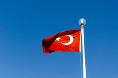 Flag of Turkey. A Turkish flag against a blue sky stock photos